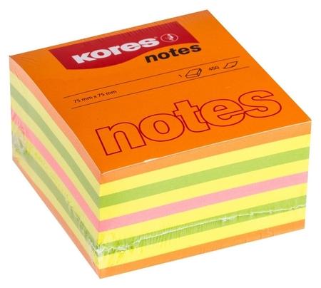 Блок-кубик Kores бум.для зам. 75х75 неон. гамма 4цв. 450л. 48465  Kores
