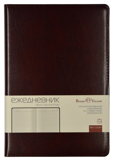 Ежедневник полудатированный коричн,a5,152х222мм,416 стр,br.v.profy  Bruno Visconti