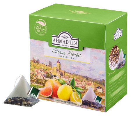 Чай Ahmad Tea цитрусовый сорбет зеленый пирамидки 20х1,8г 1239  Ahmad Tea