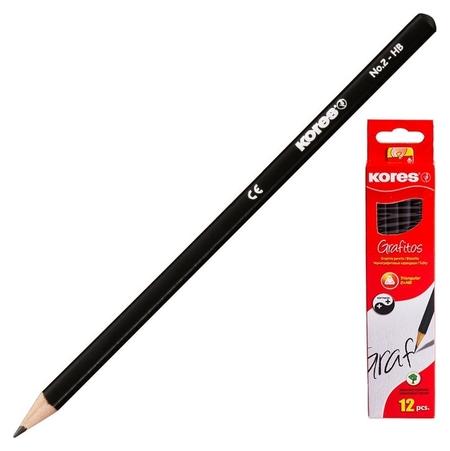 Карандаш чернографитный Kores трехгранный HB без ластика 92301  Kores