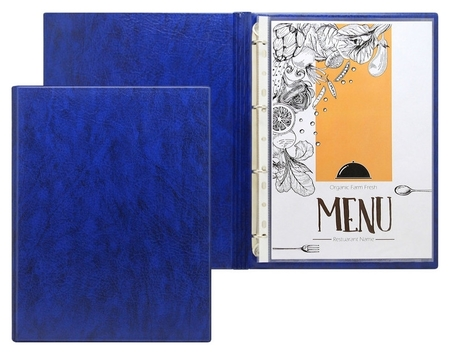 Папка меню на кольцах, 2891, синяя NNB