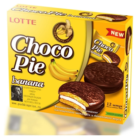 Пирожное Lotte Chocopie банан, 336г  Lotte