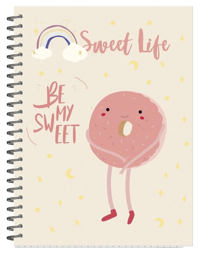 Бизнес-тетрадь а5,96л,кл,греб,мат.лам. Attache Selection Sweet Life пончик Attache