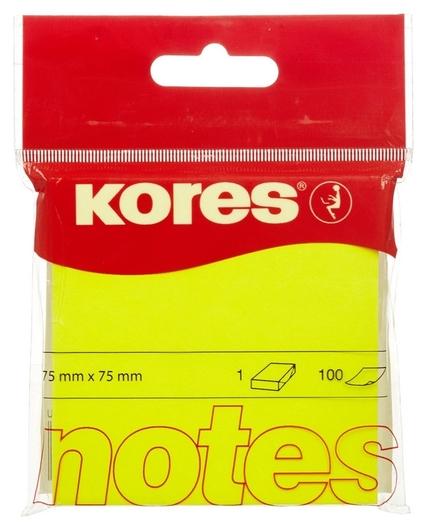 Блок-кубик Kores бум.для зам. 75х75 неоновая желтая 100л. ?47076 Kores
