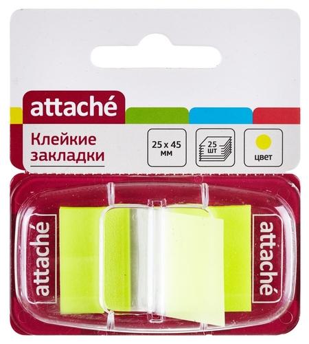 Клейкие закладки пласт. 1цв.по 25л. 25ммх45 желт Attache  Attache