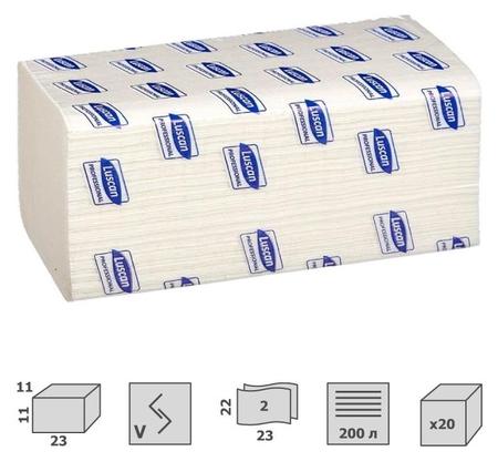 Полотенца бумажные для дисп. Luscan Professional Vслож 2сл белцел200л20пач/уп  Luscan