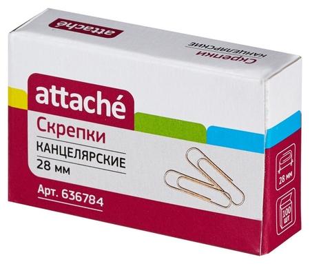 Скрепки Attache 28 мм., золотистые металлические 100 шт. в карт.уп  Attache