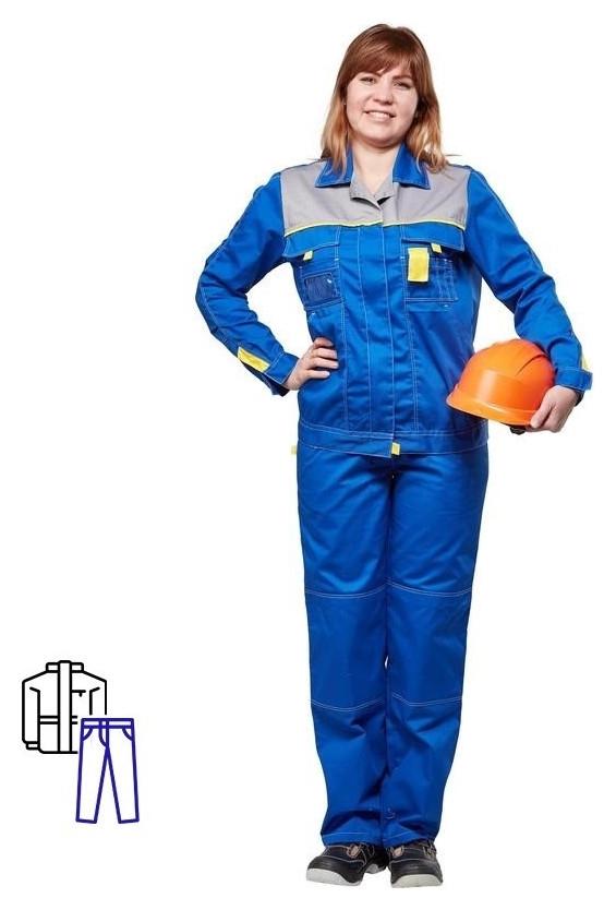 Спец.одежда летняя костюм л10-кбр жен вас/сер 60-62 158-164 NNB