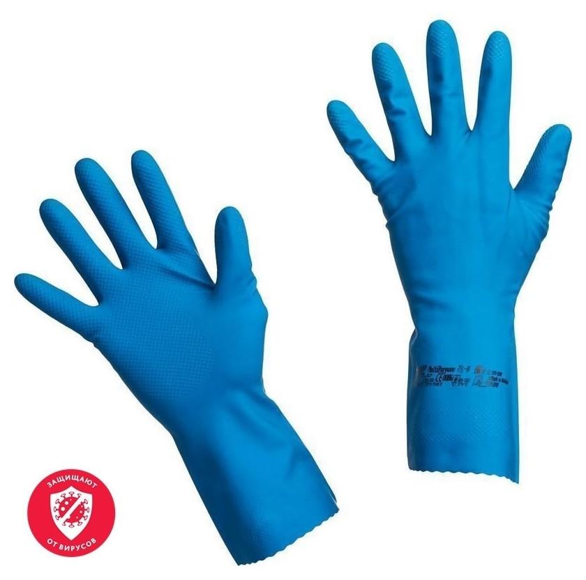 Перчатки резиновые Vileda Profes латекс хлопков.напыл синий р-р S 100752  Vileda