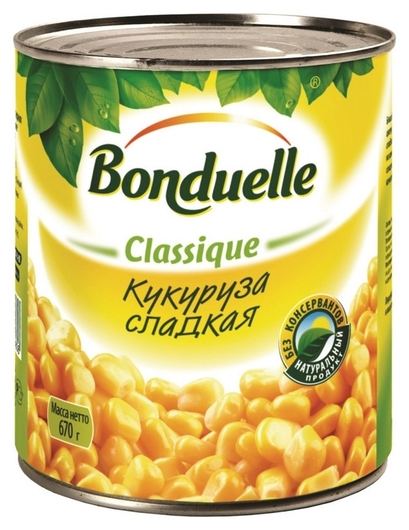 Консервация кукуруза бондюэль сладкая, 670г  Bonduelle