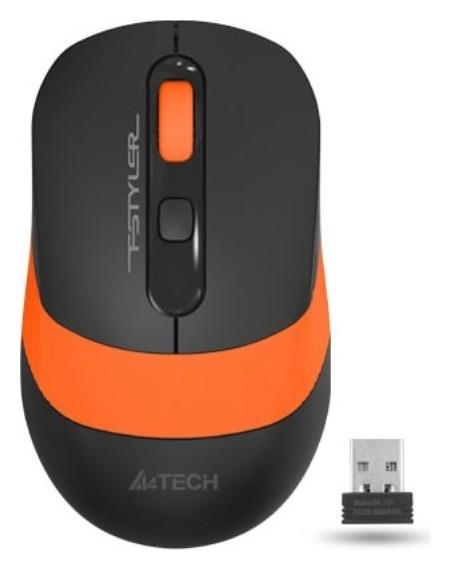 Мышь компьютерная A4 Fstyler Fg10, беспроводная, 2000dpi, черный/оранжевый  A4TECH