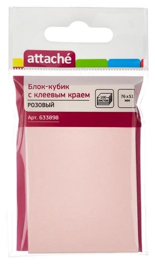 Блок-кубик Attache с клеев.краем 76х51 розовый 100л.  Attache