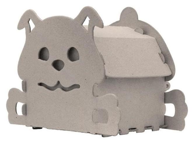 Набор для творчества сборный картонный домик для раскрашивания, собачка Smubic