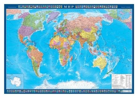 Настенная карта Мир политическая 1:25млн.,1,43х1,02м.  Атлас принт