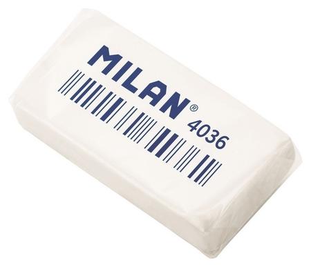 Ластик каучуковый Milan 4036, 3,9х2х0,8, белый  Milan