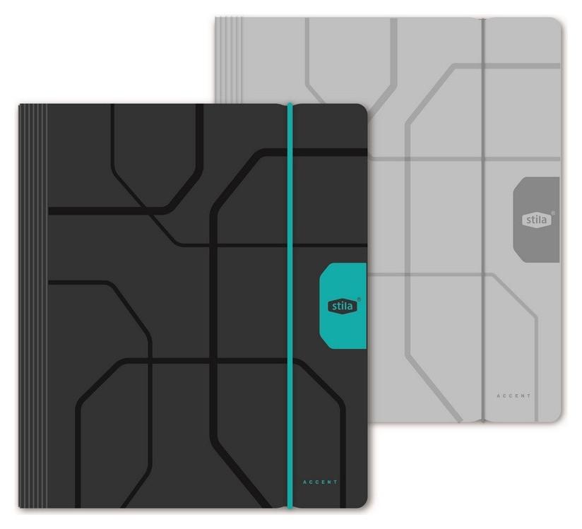 Тетрадь со сменным блоком 120л,клет,а5,разделители,обл.пластик,резинка  Stila