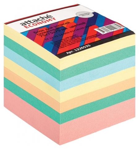 Блок для записей Attache Economy проклеенный 7,5х7,5х7,5, 5 цветов, 65 г  Attache