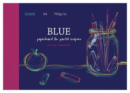 Альбом для рис.пастелью Kroyter А4 10л,блок синий 760гр,обл.мел.карт.7521  Kroyter