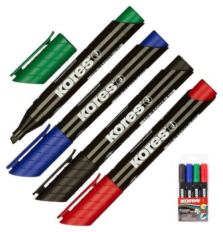 Маркер перманентный Kores набор 4 цв. 3-5 мм скошенный наконечник 20945  Kores