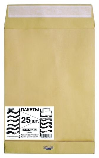 Пакет крафт E4стрип Extrapack300х400х40 120г 25шт/уп/6589 Экстрапак