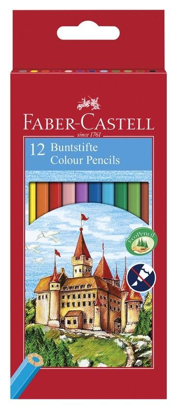 Карандаши цветные Faber-castell ECO замок 12цв 6-гран точилка 120112  Faber-castell