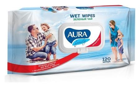 Салфетки влажные Aura антибак Family 120шт с крышкой  Aura