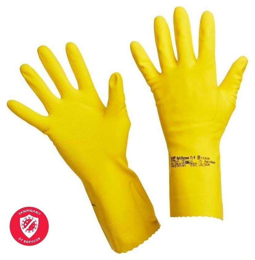 Перчатки резиновые Vileda Profes латекс хлопков.напыл желтый р-р S 100758  Vileda