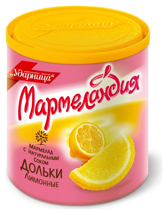 Мармелад мармеландия лимонные дольки, 250 г.  Ударница