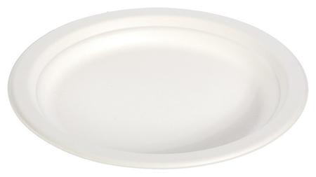 Тарелка одноразовая D-172мм, белая, сахарный тростник 50шт/уп  Green mystery