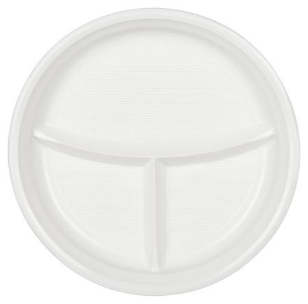 Тарелка одноразовая D 220мм, 3-х секционная, белая, ПП, 100шт/уп  Комус