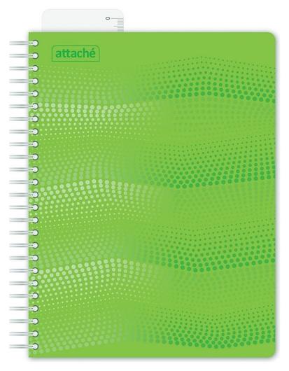 Бизнес-тетрадь Waves А5 100л. Attache клет,спир,пласт,заклад,цв.зеленый  Attache