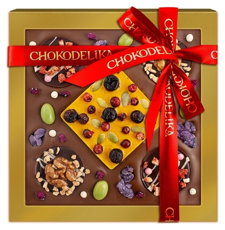 Шоколад с украшением кватро Вес 220 г  Chokodelika
