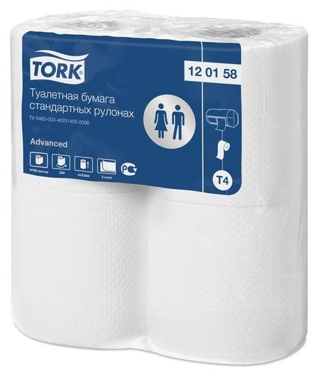 Бумага туалетная Tork T4 2сл бел вторич 23м 184л 4рул/уп 24уп/блок 120158  Tork