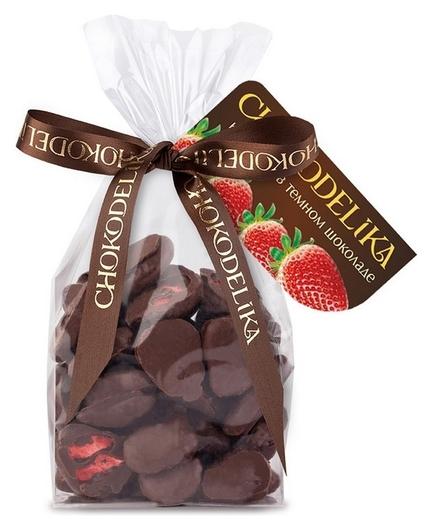 Конфеты клубника в темном шоколаде 60 г  Chokodelika