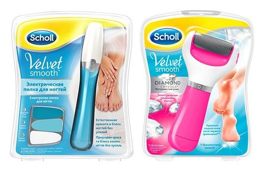 Набор Электрическая роликовая пилка для стоп + Электрическая пилка для ногтей Scholl Velvet smooth