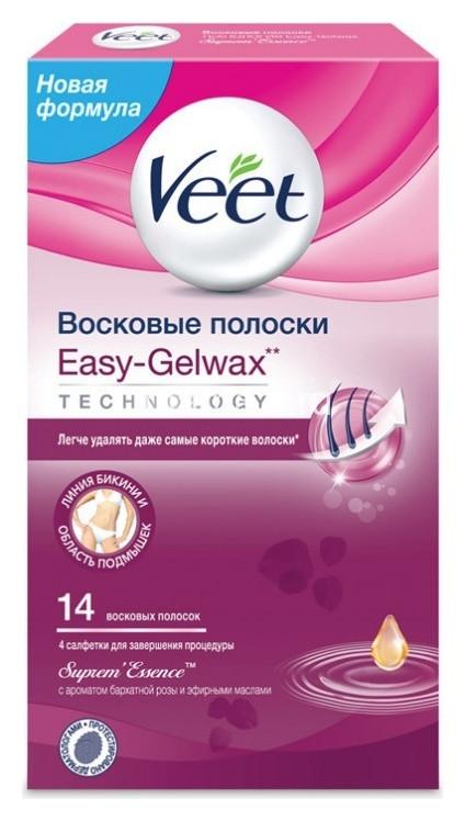 Восковые полоски c ароматом бархатной розы и эфирными маслами с технологией Easy-Gelwax (бикини)  Veet