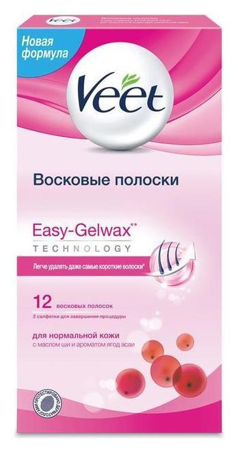 Восковые полоски для нормальной кожи c технологией Easy Gel-wax  Veet