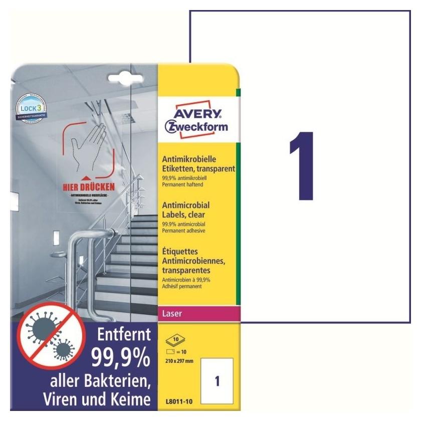 Этикетки антимикробные,прозрачные,l8011-10,l+cl+k,210х297 мм,10л /10 шт  Avery Zweckform