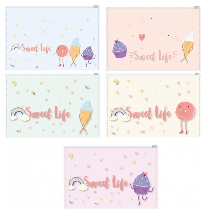Папка-конверт на молнии Z-L Attache Selection Sweet Life А4 200мкм 5шт/уп  Attache