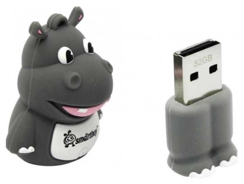 Флеш-память Smartbuy Wild Series, 32gb, USB 2.0, гиппопотам, Sb32gbhip  Smartbuy