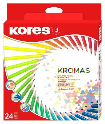 Карандаши цветные 24цв 3-гран Kores Kromas 93392  Kores