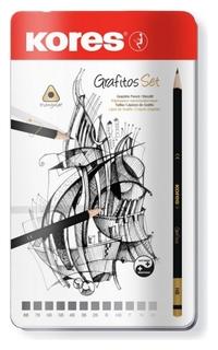 Набор карандашей чернографитных Kores Grafitos,трехгр.12 шт.(2н-8в), 92162  Kores