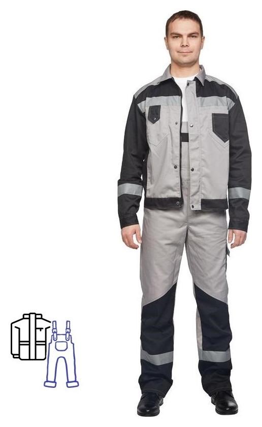 Спец.одежда летняя костюм мужской л21-кпк серый/черн. (Р.44-46) 170-176 NNB