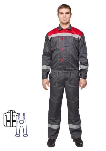 Спец.одежда летняя костюм муж. л20-кпк сер/красн (Р.44-46) 158-164 NNB