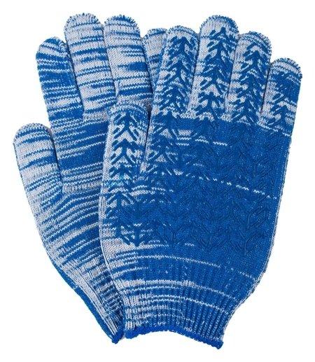 Перчатки х/б 10 класс вязки синие плотные елочка индля уп NNB