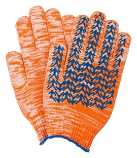 Перчатки х/б 10 класс вязки оранжевые плотные елочка индля уп  NNB