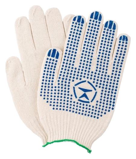 Перчатки защитные трикотажные с ПВХ точка 4 нити 42г 10класс 10 п/уп  NNB