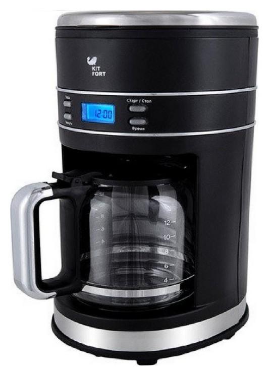 Кофеварка Kitfort кт-704-2 черная, капельная, 1,5 л, 1000 Вт  Kitfort
