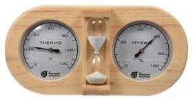 Термометр с гигрометром банная станция с песочными часами  Банные Штучки