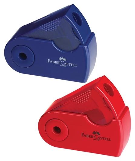 Точилка Faber-castell Sleeve Mini, 1 отверстие, контейнер, красная/синяя  Faber-castell